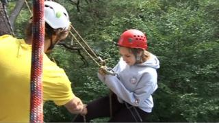 girl abseiling