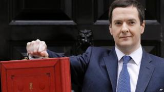 Chancellor George Osborne with his red dispatch box ahead of the Budget on 19 March 2014