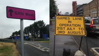 Games lane signs