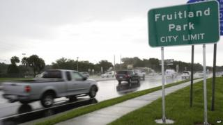 A sign for Fruitland Park, Florida, is visible in 16 July 2014