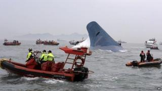 South Korean rescue workers surround the sinking ferry Sewol - 16 April 2014