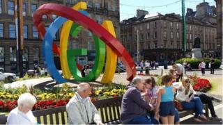 Canol Glasgow yn barod ar gyfer y Gemau.