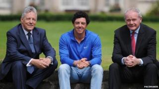 Peter Robinson, Rory McIlroy and Martin McGuinness