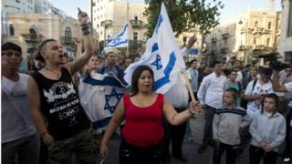Israelis in Jerusalem demonstrate in support of Gaza offensive (14 July 2014)
