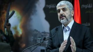 Hamas leader Khaled Meshaal holds a press conference in the Qatari capital Doha on 23 July 2014.