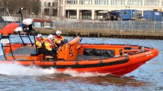 An RNLI lifeboat on the river Thames
