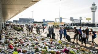 Thousands of flowers have been laid at Schiphol Airport, Amsterdam