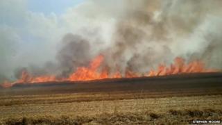 Grass fire in Rollestone Wiltshire