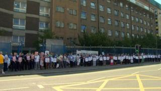 More than 100 people took part in the protest outside Belfast's Royal Victoria Hospital
