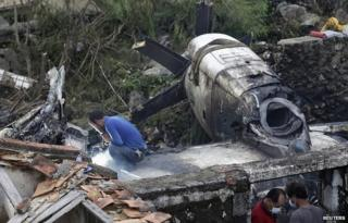 Wreckage of a TransAsia Airways plane that crashed in Taiwan