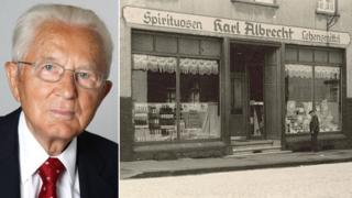 Karl Albrecht and the shop in Essen started by his mother