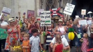 Campaigners outside the High Court in London