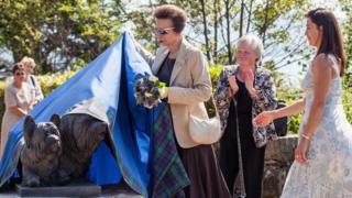 Princess Anne unveils Skye Terrier statue