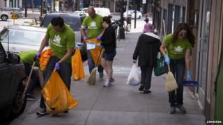 Zendesk employees picking up litter in Tenderloin