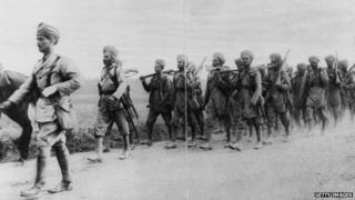 Indian soldiers marching in World War One