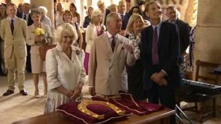 The Duchess of Cornwall presented a decorative horseshoe to mark her first official visit to Oakham, Rutland