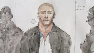 A drawing of Mehdi Nemmouche during a court hearing in Versailles, France - 26 June 2014