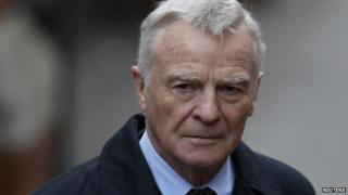 Max Mosley arriving at the Leveson inquiry in November 2011