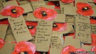 Crosses made by Wiltshire school children to commemorate WW1