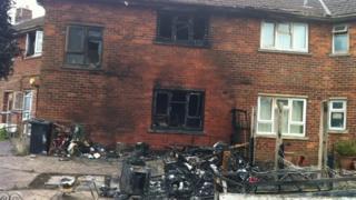 Scene of fire on Westwick Drive