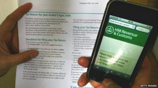 HMRC tax document and mobile website