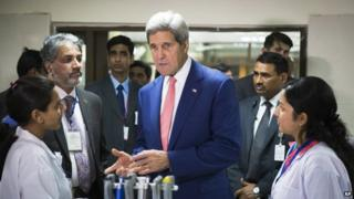 US Secretary of State John Kerry speaks to graduate students about their work at the Indian Institute of Technology in New Delhi, India