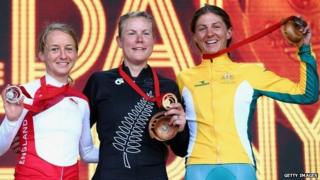 Emma Pooley of England, Linda Villumsen of New Zealand and Katrin Garfoot of Australia