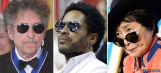 Bob Dylan, Lenny Kravitz and Yoko Ono