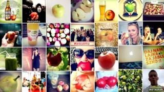 Compilation of apple images on Instagram