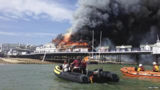 RNLI lifeboat crew tackles flames