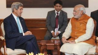 US Secretary of State John Kerry with Indian Prime Minister Narendra Modi in New Delhi, India on Friday 1 August