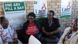 Members of the South African Health Ministry chat on April 8, 2013 during the launch of the new single dose anti-AIDs drug at Phedisong clinic in Ga-Rankuwa, 100 kms North of Johannesburg.
