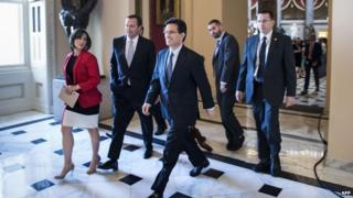 House Majority Leader Representative Eric Cantor (C) (R-VA) walks to a vote during his last day as Majority Leader on Capitol Hill 31 July 2014
