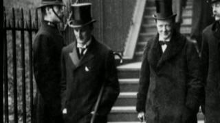 Sir Edward Grey (left) and Winston Churchill