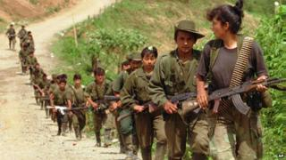 Farc rebels in 1996