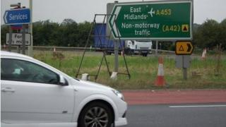 Sign for East Midlands Airport