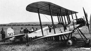 The first British aircraft to land in France was one of their aircraft, a BE2 piloted by Lt Harvey-Kelly, seen in this photograph taken at Lythe near Whiby on his flight south.