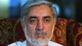 Afghan presidential candidate and former Foreign Affairs Minister Abdullah Abdullah speaks during an interview with The Associated Press at his residence in Kabul, Afghanistan, Tuesday, July 15, 2014.