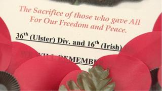 A wreath marking the sacrifice of troops from Ireland north and south during World War One