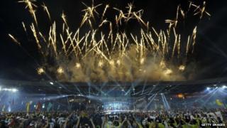 Fireworks over Hampden Park