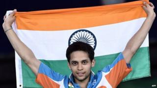 India's Kashyap Parupalli celebrates after winning his badminton gold medal
