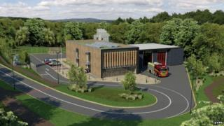 An artist's impression of the station being built off the A57 Sheffield Parkway