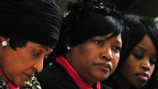 Winnie Madikizela-Mandela (L), Zinzi Mandela and Zoleka Mandela in Johannesburg on 17 June 2010