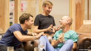 Julian Ovenden (John), Richard Cant (Bernie) and Matt Bardock (Benny) in rehearsal for My Night With Reg