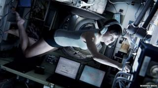 """Pictures shows Sandra Bullock in a scene from """"Gravity."""""""