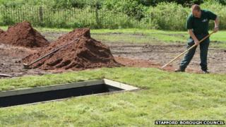 Modular burial system at Eccleshall cemetery