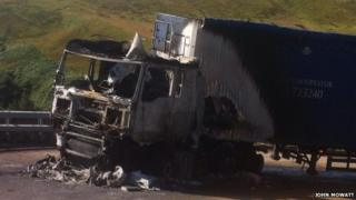 lorry on fire on A9