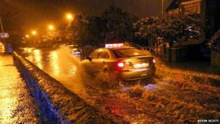 Flooding in Finaghy Road, Belfast on Tuesday night