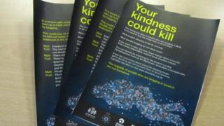 """""""Your kindness could kill"""" leaflet"""
