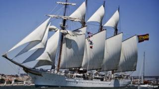 The training ship of the Spanish Armada, Juan Sebastian De Elcano, sails on the Tejo River in Lisbon on 22 July 2012.